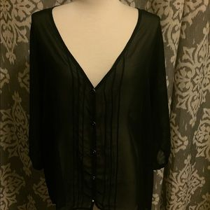 Tops - Black sheer top with gold buttons.